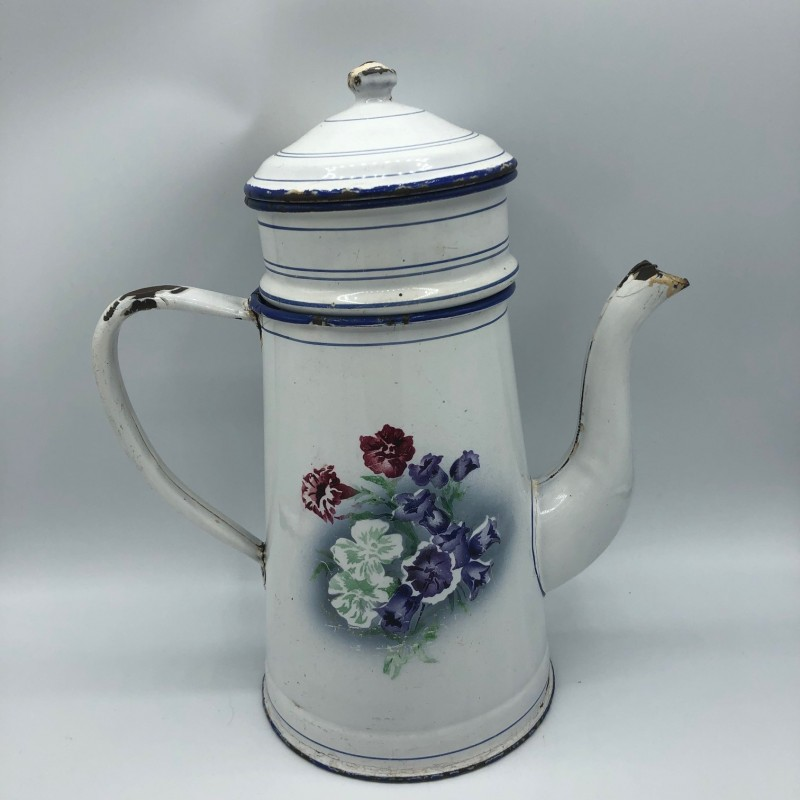 Old enamel coffee maker with floral decor