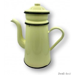 Old enamelled tin coffee maker | Pastel yellow and black