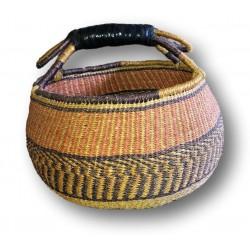 Elephant Grass Round Basket | Vintage | Yellow, orange and black