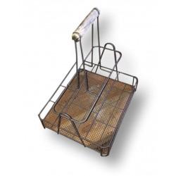 Old basket for bottles and glasses | Metal | Vintage