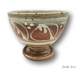 Ancien bol en grès décor émaillé | Bol en grès vintage