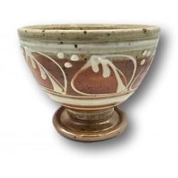 Old stoneware bowl with enamelled decoration | Vintage stoneware bowl