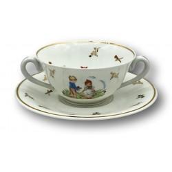 Ancienne tasse à deux anses | Porcelaine de Limoges France