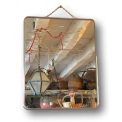 Ancien miroir de barbier | Miroir simple à chaînette