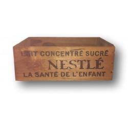 Ancienne caisse en bois publicitaire   Lait concentré Nestlé