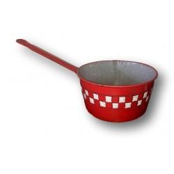 Ancienne casserole en tôle émaillée rouge à damier blanc   Lustucru