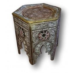 Petite table basse d'appoint ou porte pot   En laiton oriental