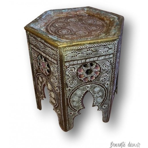 Small side coffee table or pot holder   Oriental brass