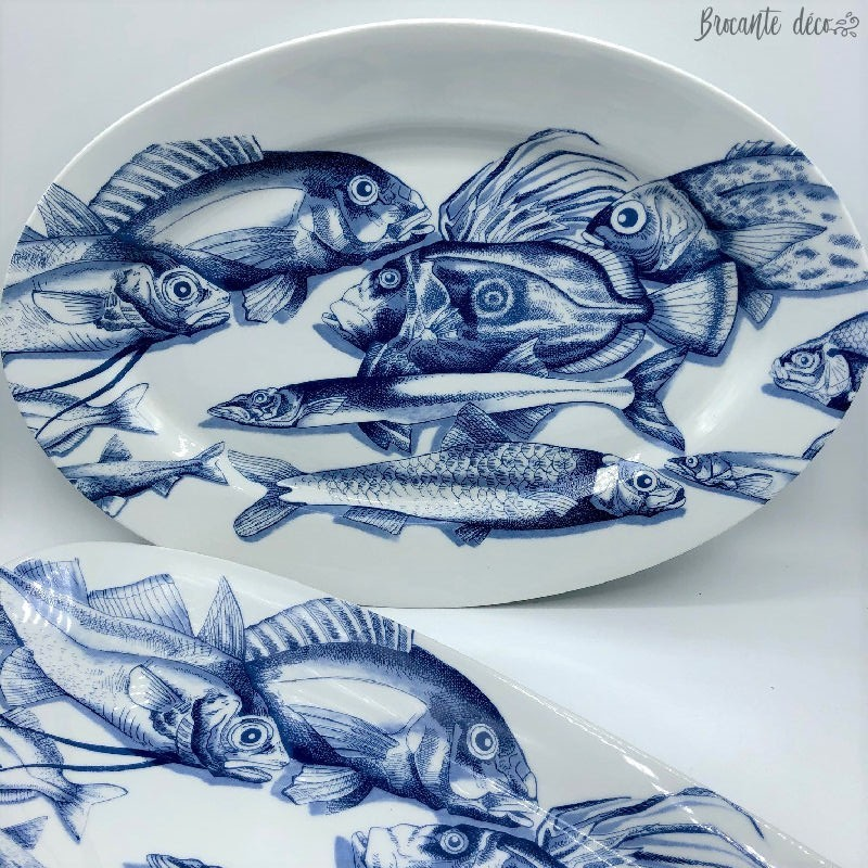 lot de 2 plats à poissons en porcelaine de Limoges France