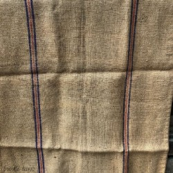 Burlap bag with purple stripes