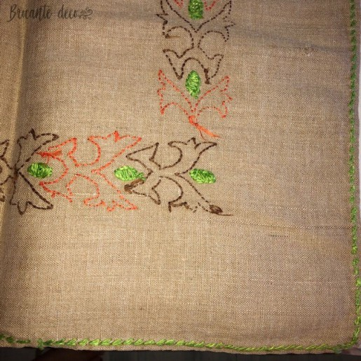 Old embroidered linen square doily | vintage style