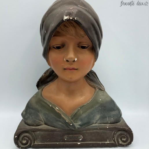 "Plaster girl bust ""Au village"" model 232 France"