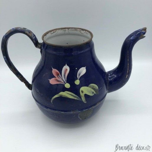 Coffee pot enamelled potbellied floral decor cobalt blue background