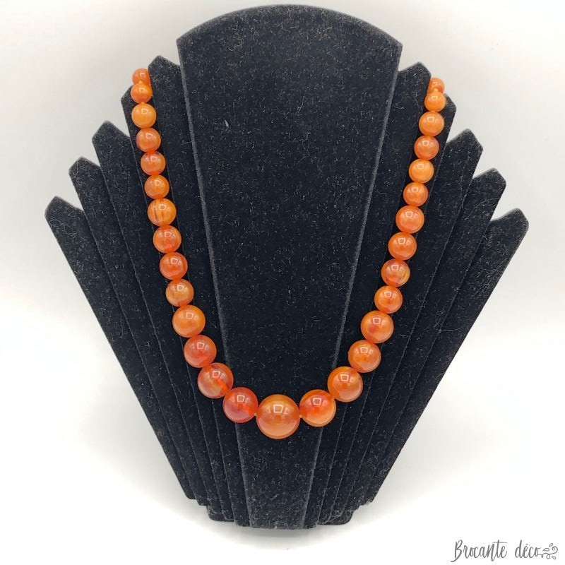 Old amber colored ball necklace - Vintage