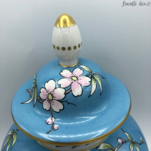 Potiche Limoges France - Decor bird and flowers signed G.Simonnet