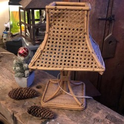 100% vintage rattan and cane table lamp