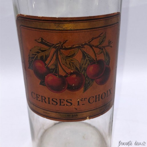 """Old jar with """"First choice cherries"""" label"""