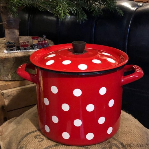 Old stewpot or pot enamelled red with white dots