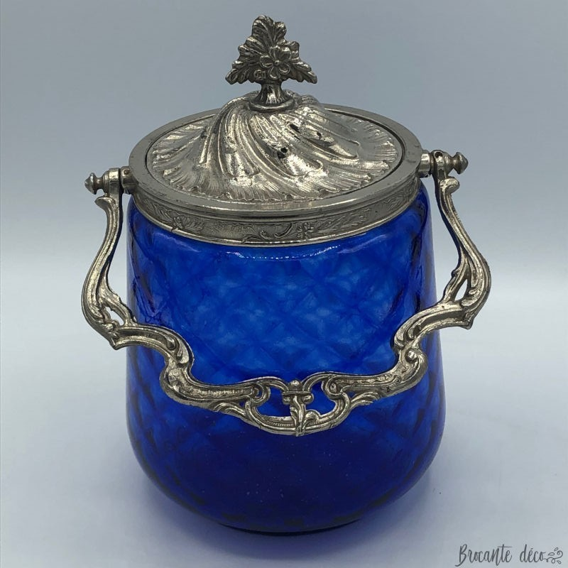 ♔ Old cookie bucket - Regency Style - Louis XV - Rockery - Blue