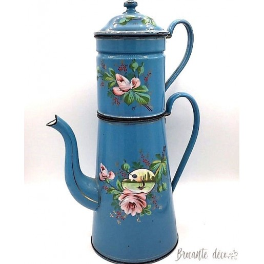 Large blue enamelled coffeepot with boat and roses decor