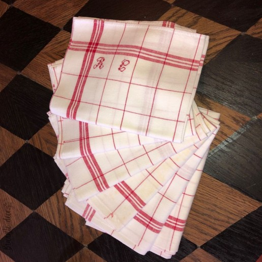 6 old red and white tea towels monogram R G