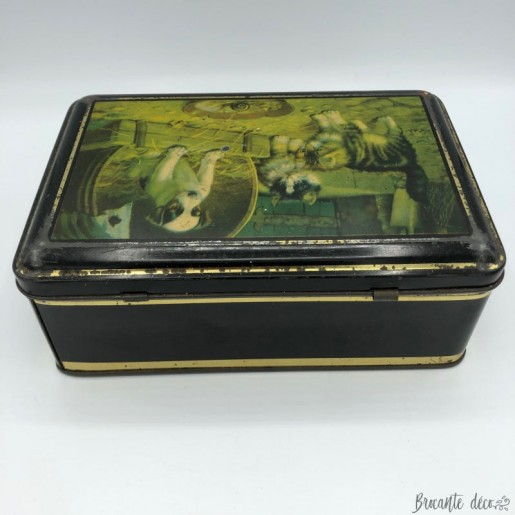 Old lithographed tin box with cats and dogs decor - Black