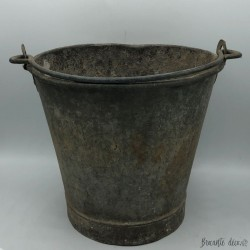 Old zinc well bucket for outdoor or indoor