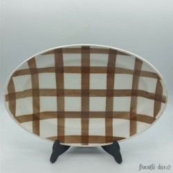 Old oval dish with tea towel decoration - Moulin des Loups