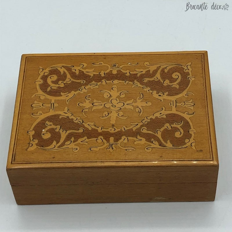 Old small wooden box with marquetry decor