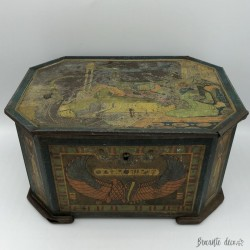 Old and big art nouveau box with Egyptian decor