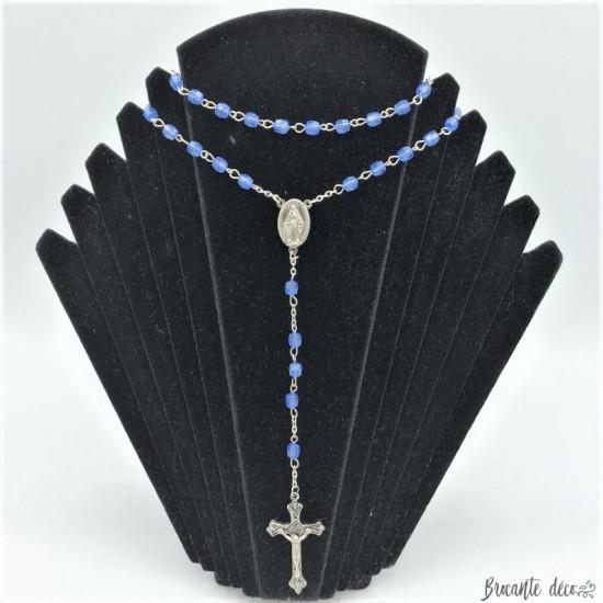 Chapelet en perles bleues avec médaille miraculeuse