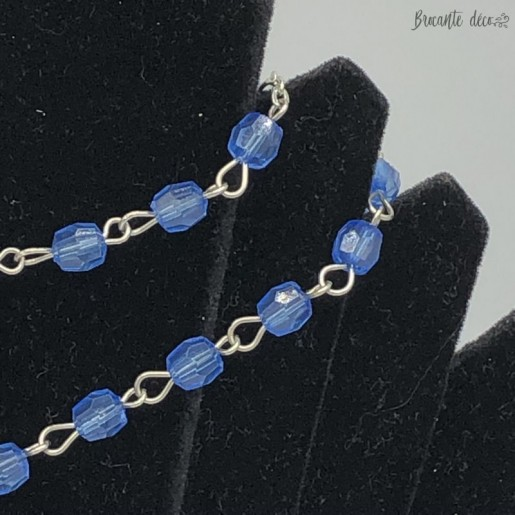 Blue beads rosary with miraculous medal
