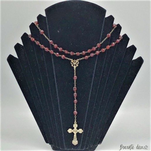 Ancient red rosary in faceted bohemian pearls