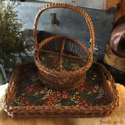 Vintage wicker tray and bottle basket set