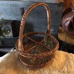 Vintage wicker tray and bottle basket set