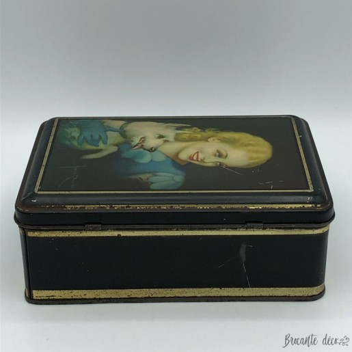 Old lithographed sheet metal box | Mat decoration | woman and dog