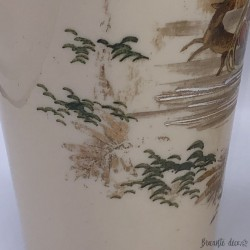 Pair of antique vases in fine opaline winter decor