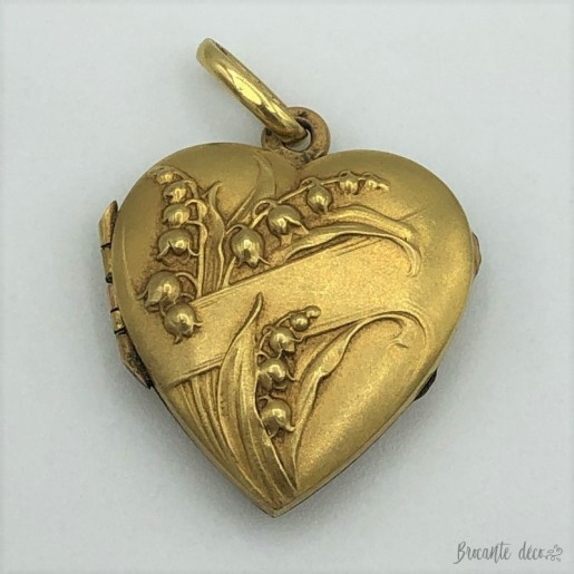 Old gold plated pendant | Heart | Photo holder