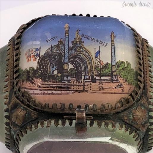 Ancienne boîte à bijoux à facettes en verre biseauté | Souvenir | Porte monumentale