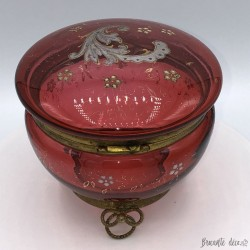 Old pink enameled glass jewelry box or candy box