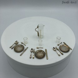 Old miniature glass dinette