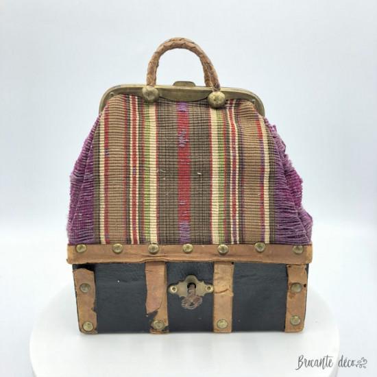 Ancien sac malle de voyage pour poupée |XIX éme siècle |Vers 1875