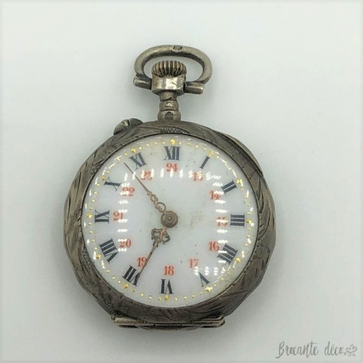 Old silver and gold pocket watch for women