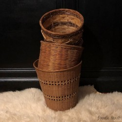 Lot de 3 corbeilles ou caches pot | Vintage |En osier et rotin