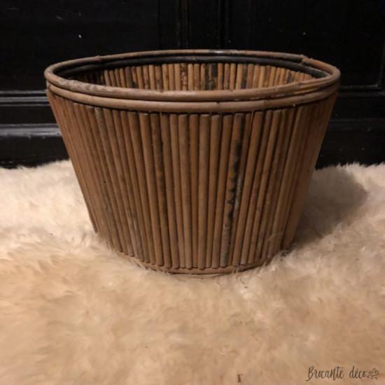Ancien cache pot en bambou | Vintage | Grande taille
