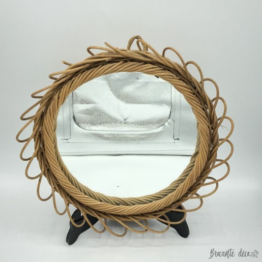 Ancien miroir en osier   Vintage   Soleil   Rond