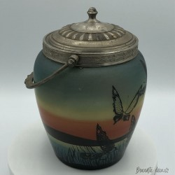 Old cookie bucket | Painted glass | Signed S. Yvet