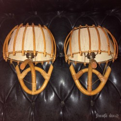 Pair of rattan wall lights | Vintage | 60s