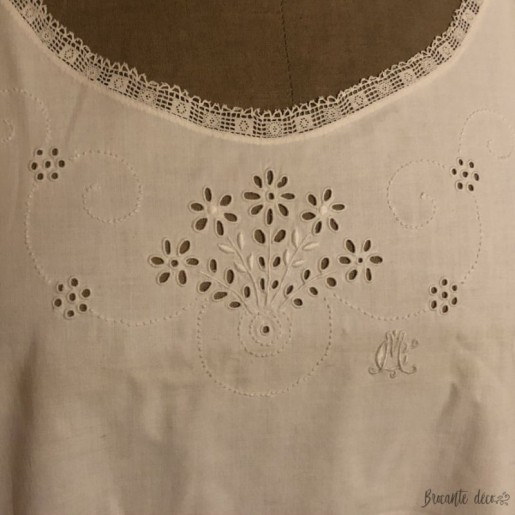 Old embroidered and openwork nightgown | Cotton | Monogram M C