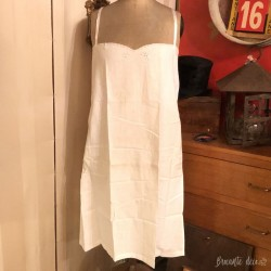 Old cotton suspender nightgown | embroidered | White